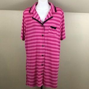 Betsey Johnson Striped Sleep Shirt Heart Buttons